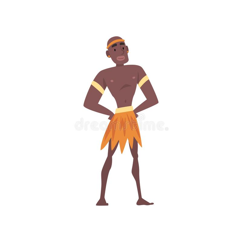 Native Black Skinned Man in Traditional Clothes, African or Australian Aborigine Cartoon Character Vector Illustration. On White Background stock illustration
