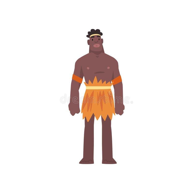 Native Black Skinned Man in Traditional Costume, Australian Aborigine Cartoon Character Vector Illustration. On White Background royalty free illustration