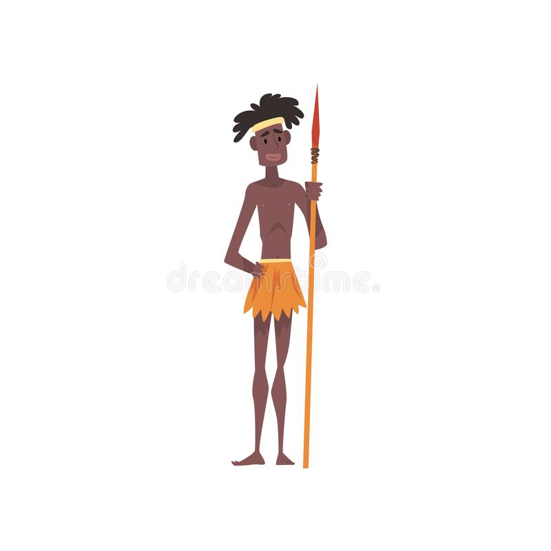 Native Black Skinned Man in Traditional Costume, Male Australian Aborigine Cartoon Character with Spear Vector. Illustration on White Background stock illustration