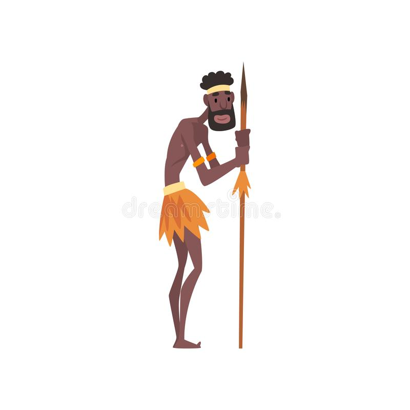Native Black Skinned Man in Traditional Costume with Spear, African or Australian Aborigine Cartoon Character Vector. Illustration on White Background stock illustration