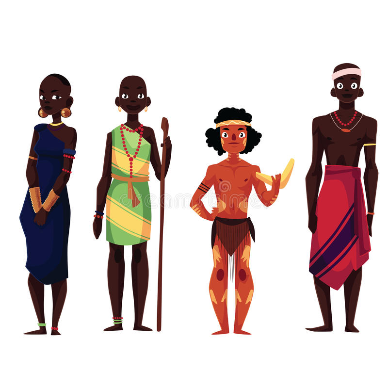 Native black skinned people of African tribes and Australian aborigine. Cartoon vector illustration isolated on white background. Full length portraits of stock illustration
