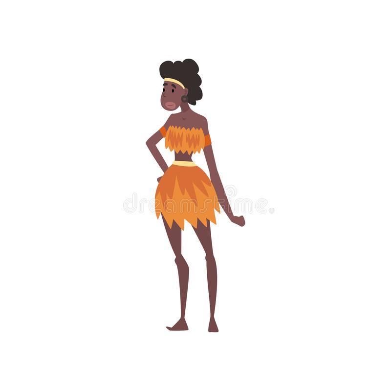Native Black Skinned Woman in Traditional Costume, African or Australian Aborigine Cartoon Character Vector Illustration. On White Background royalty free illustration