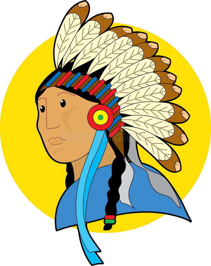 Native Chief. Native American cheif with head dress vector illustration