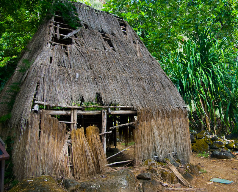 Native Hawaiian Hut. A Hale Mua, used by native Hawaiians as the men's eating hut royalty free stock photos