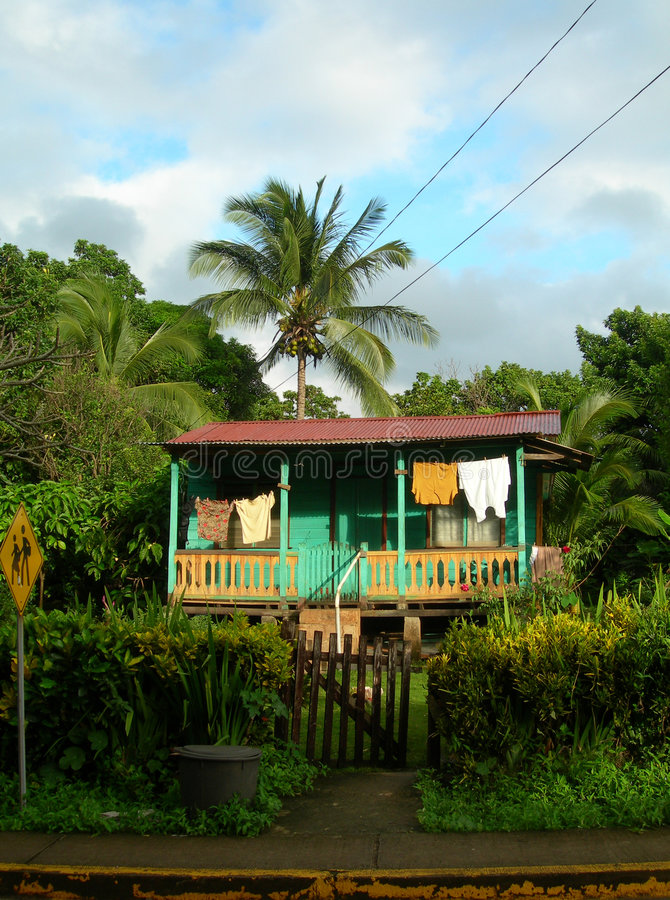 Native house. Jungle nicaragua central america great corn island royalty free stock photo