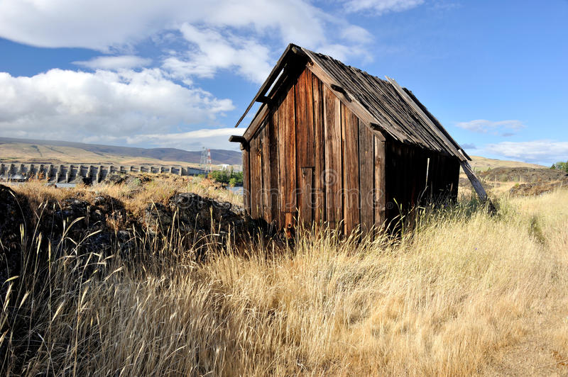 Native Indian Abandoned building. Still standing building on abandoned site of ancient Native American village located along the Columbia River in The Dalles stock photos