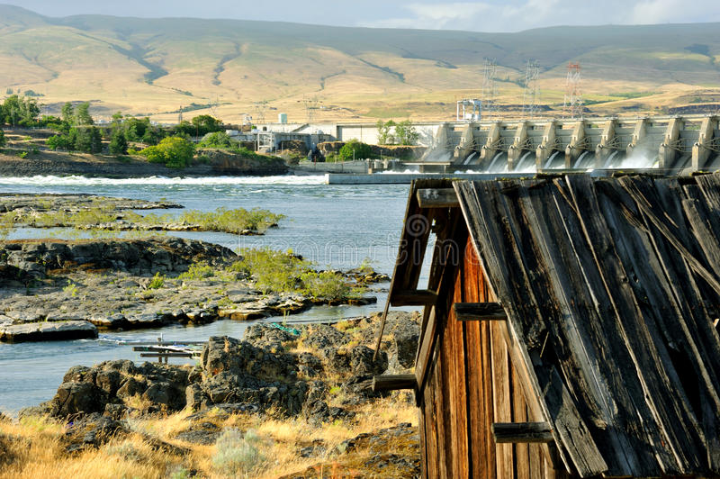 Native Indian Abandoned building. Still standing building on abandoned site of ancient Native American village located along the Columbia River in The Dalles royalty free stock photos