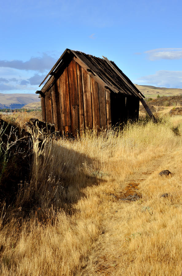Native Indian Abandoned building. Still standing building on abandoned site of ancient Native American village located along the Columbia River in The Dalles stock photo