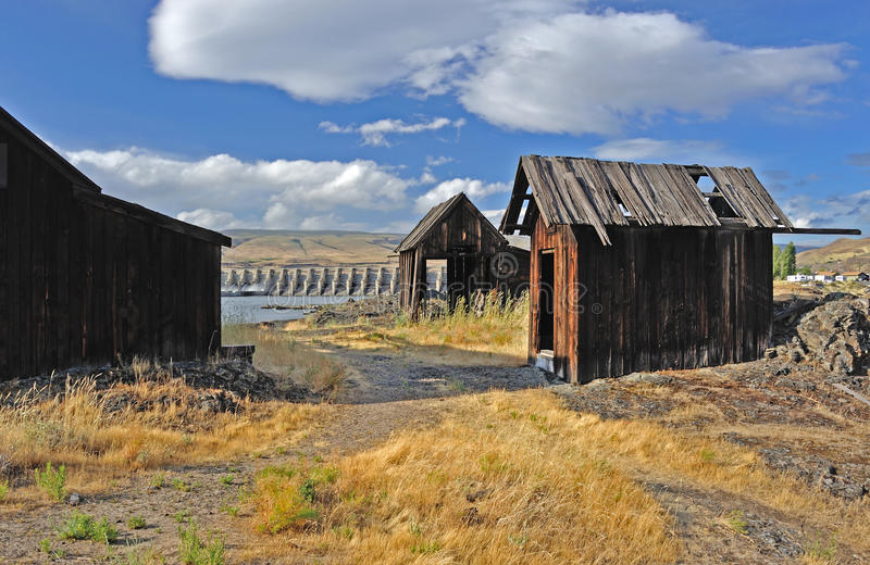Native Indian Abandoned buildings. Still standing buildings on abandoned site of ancient Native American village located along the Columbia River in The Dalles stock image