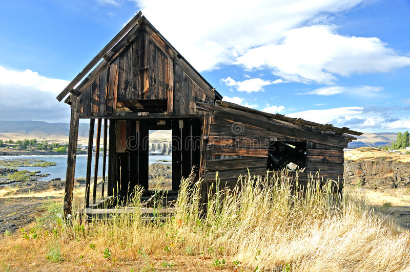 Native Indian Abandoned buildings. Still standing buildings on abandoned site of ancient Native American village located along the Columbia River in The Dalles royalty free stock photos