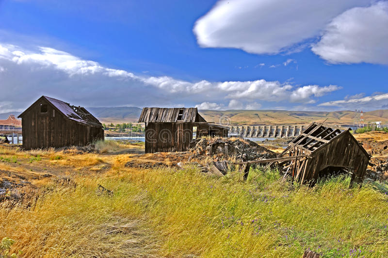 Native Indian Abandoned buildings. Still standing buildings on abandoned site of ancient Native American village located along the Columbia River in The Dalles royalty free stock photography