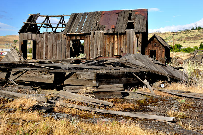 Native Indian Abandoned buildings. Still standing buildings on abandoned site of ancient Native American village located along the Columbia River in The Dalles royalty free stock images