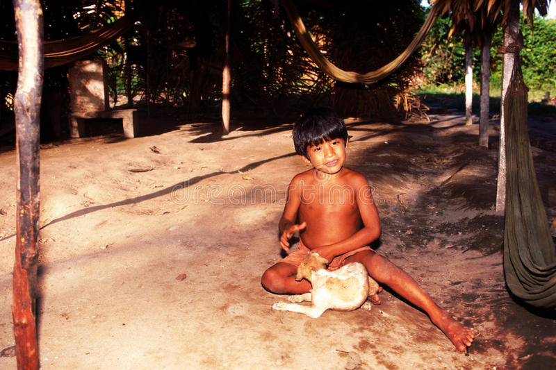 Native indian child Awa Guaja of Brazil royalty free stock images
