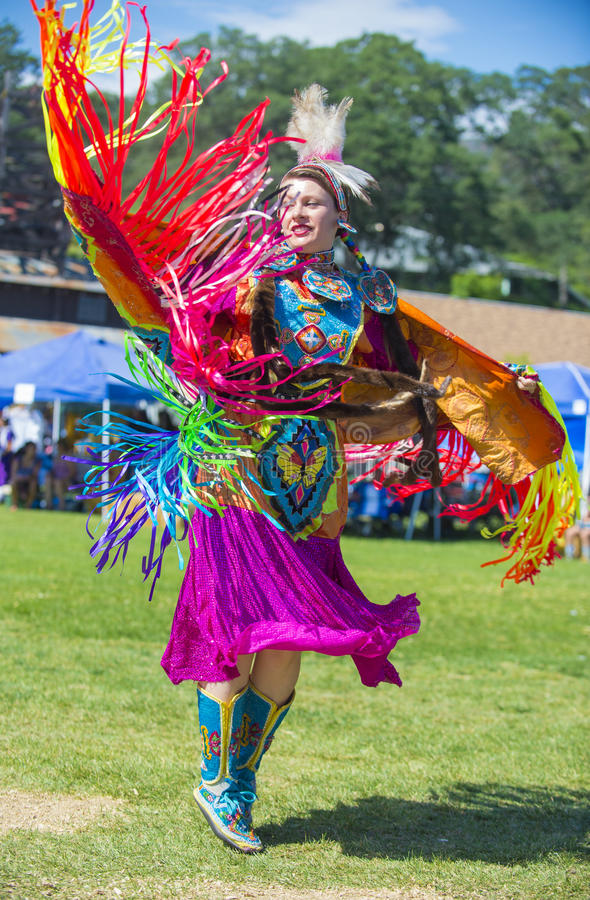Native Indian. MARIPOSA ,USA - MAY 11 : An unidentified Native Indian dancer takes part at the Mariposa 20th annual Pow Wow in California , USA on May 11 2013 royalty free stock photography