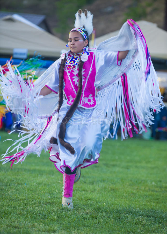 Native Indian. MARIPOSA ,USA - MAY 11 : An unidentified Native Indian dancer takes part at the Mariposa 20th annual Pow Wow in California , USA on May 11 2013 stock photos