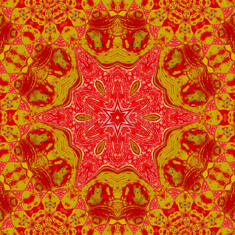 Native indian ornament, red and orange mandala royalty free illustration