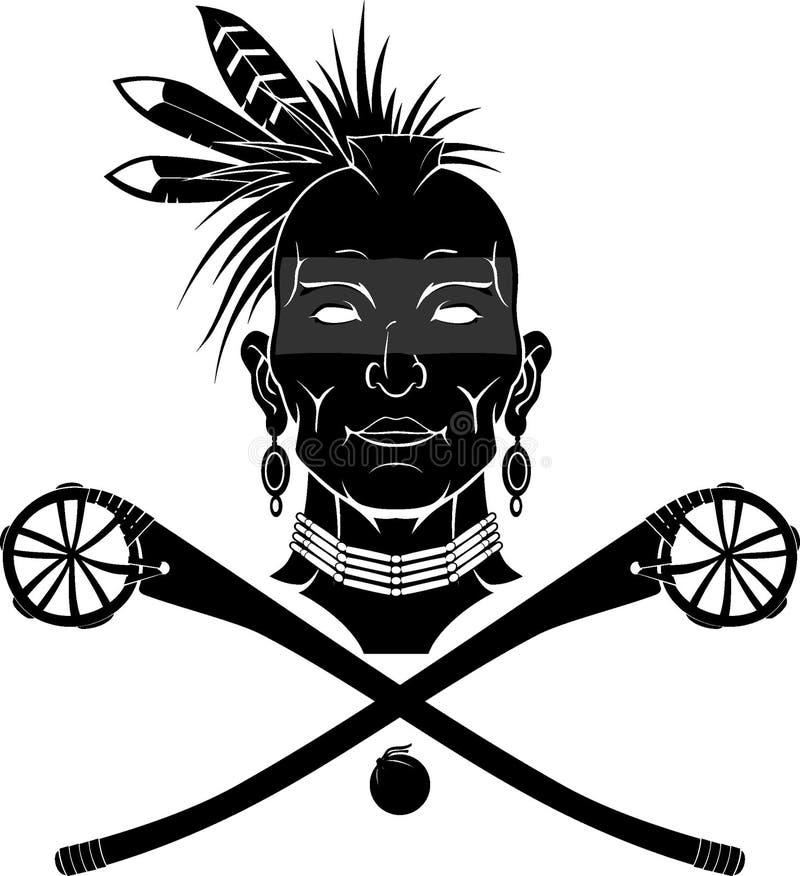 Native Indian with Winnebago Lacrosse Stick stock illustration
