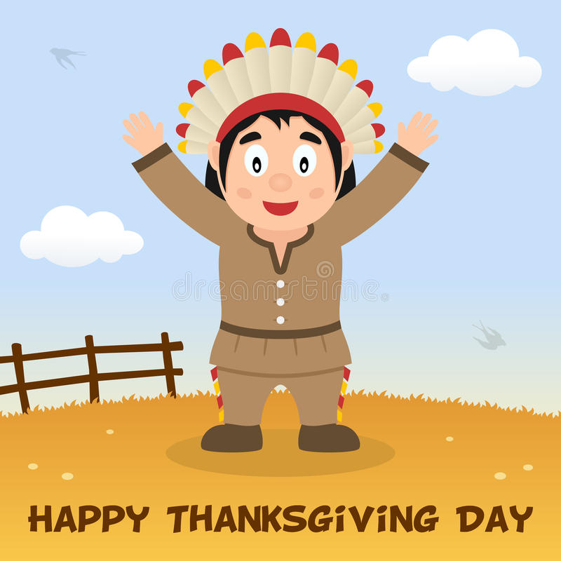Native man happy thanksgiving card stock vector illustration of a happy thanksgiving day greeting card with a cute native or indian man in a countryside scene background eps file available m4hsunfo