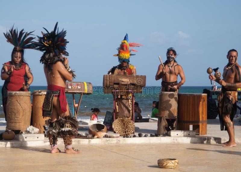 Native maya dancers royalty free stock photo