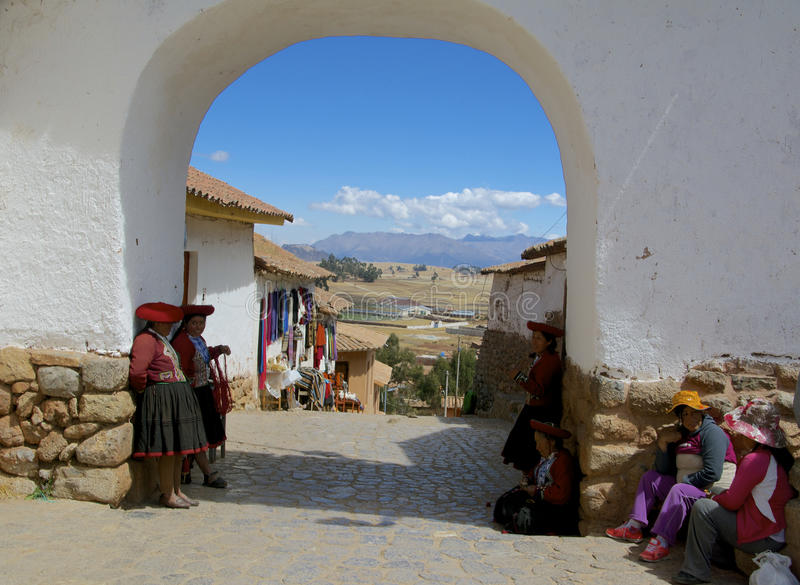 Native people in old peruvian village royalty free stock photography