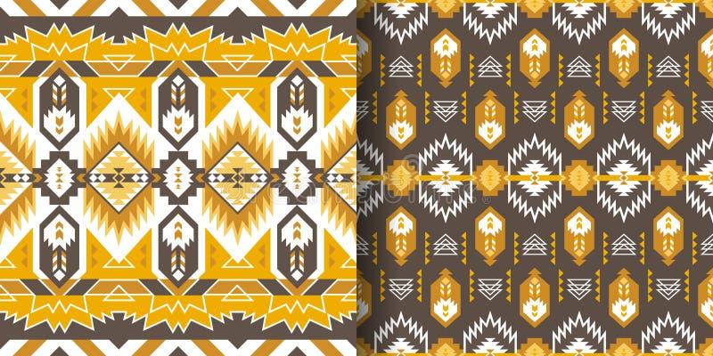 Native Southwest American, Aztec, Navajo seamless patterns. Tribal prints stock images