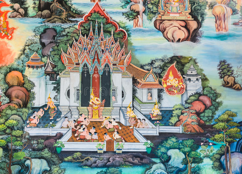 Native Thai Buddhist mural. On temple wall, Thailand stock images