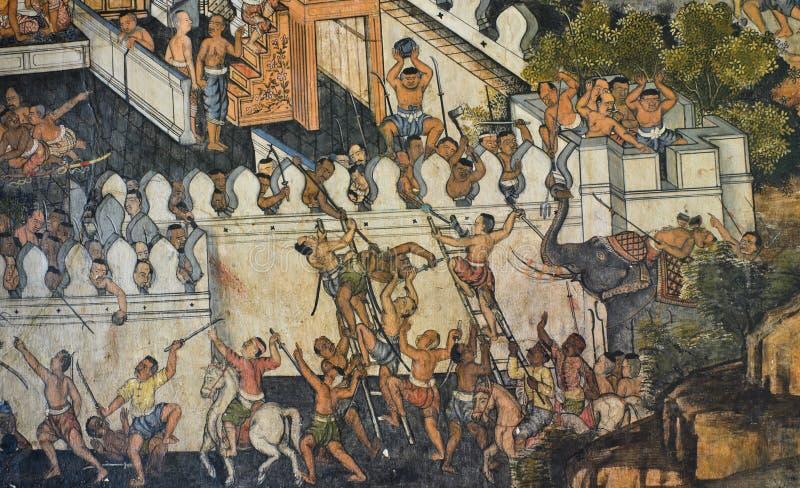 Native Thai Mural Stock Photo