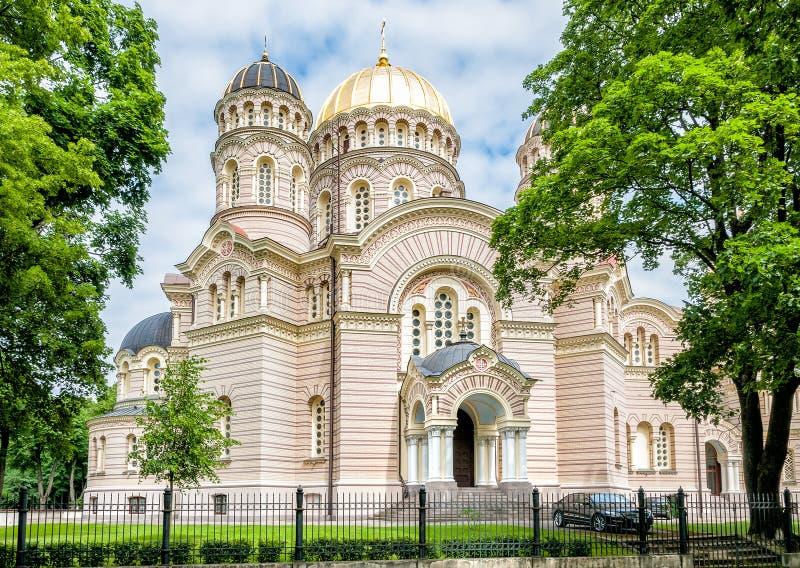 Natividad de Riga de la catedral ortodoxa de Cristo foto de archivo libre de regalías