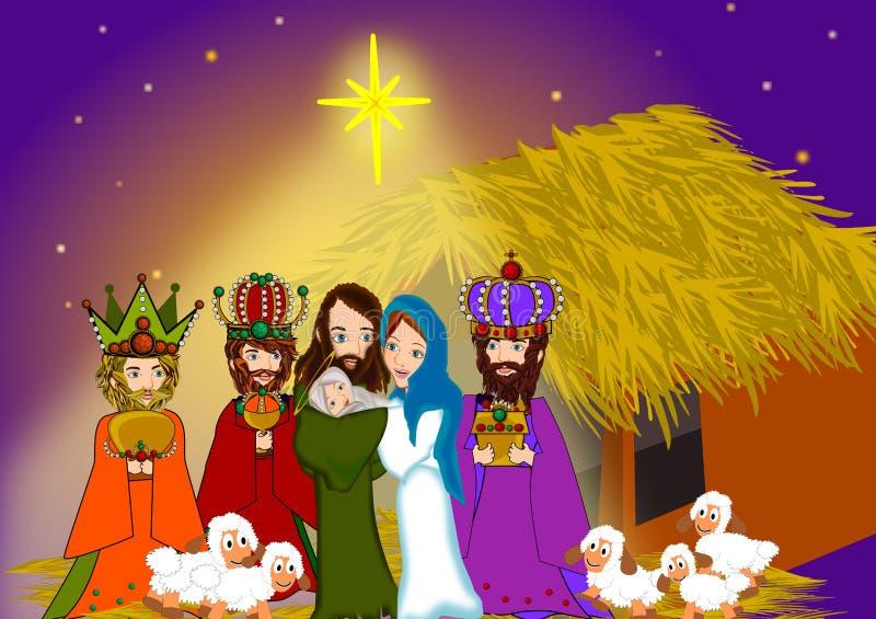 Natividad y los tres hombres sabios stock de ilustración