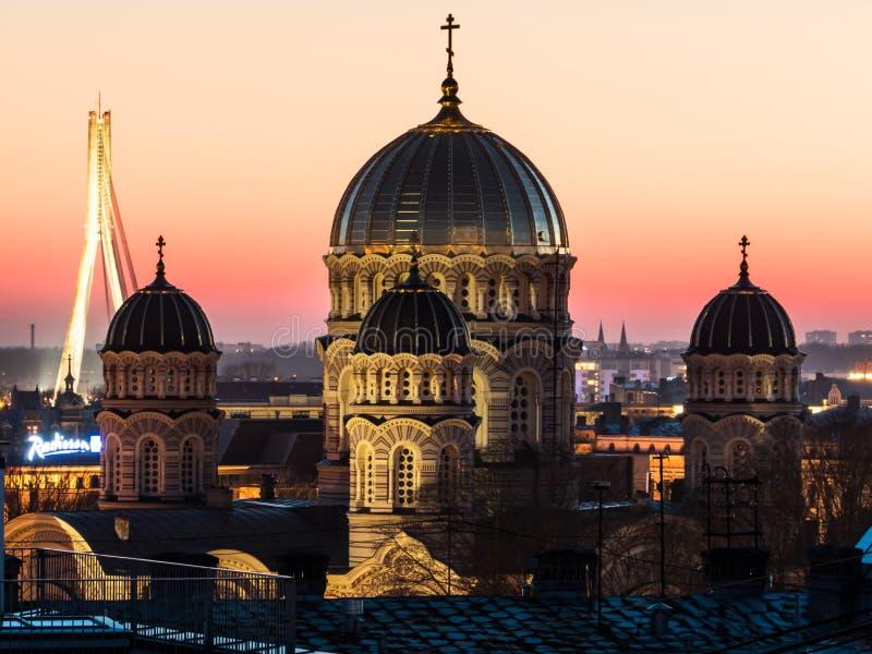 Natividade da catedral de Cristo em Riga imagens de stock royalty free
