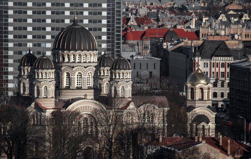 Natividade da catedral de Cristo em Riga foto de stock