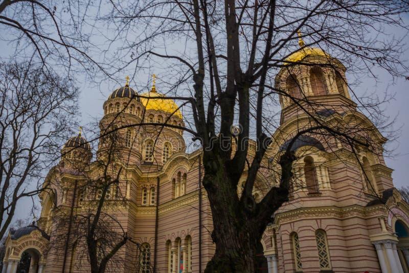 Natividade da catedral de Cristo quadro no outono no tempo nebuloso Riga, Latvia imagem de stock