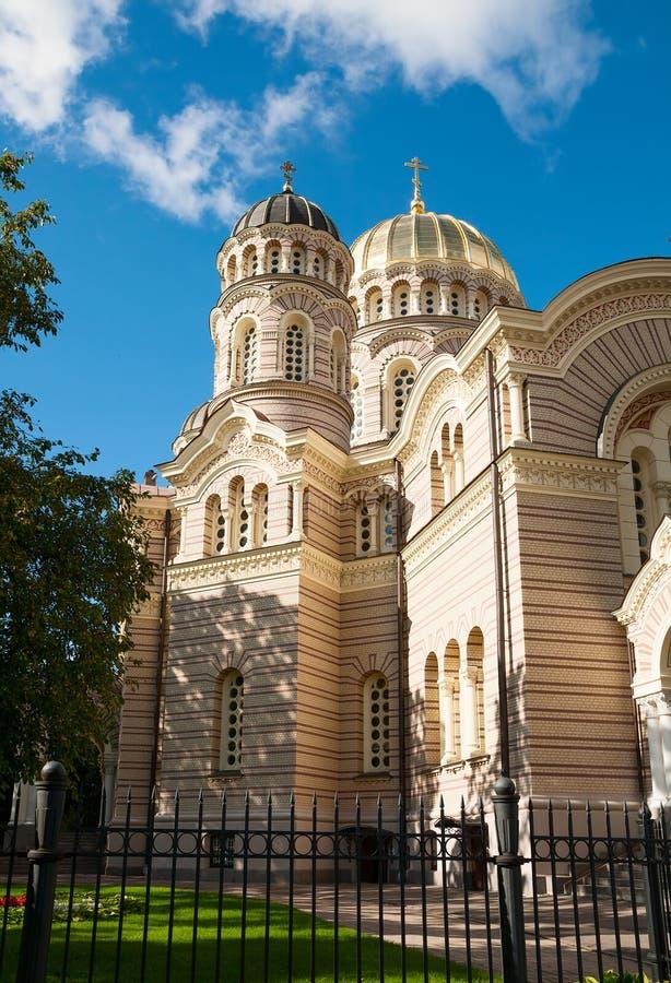 Natividade da catedral de Cristo, Riga imagens de stock royalty free