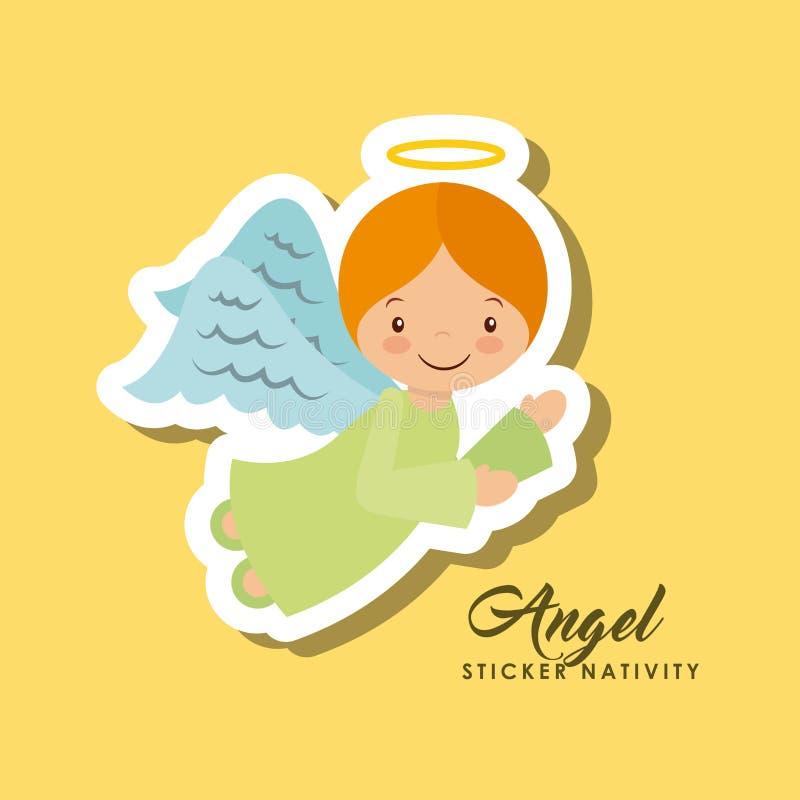 Natividade da etiqueta do anjo ilustração do vetor