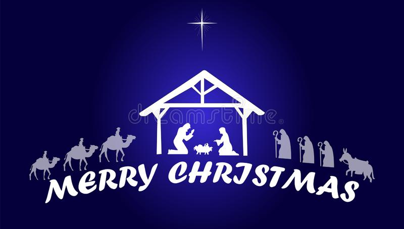 A natividade de Jesus Christ Merry Christmas ilustração royalty free
