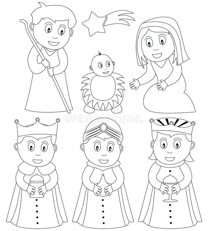 Natividade do Natal da coloração ilustração stock