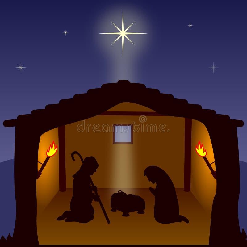 Natividade. A família santamente ilustração royalty free