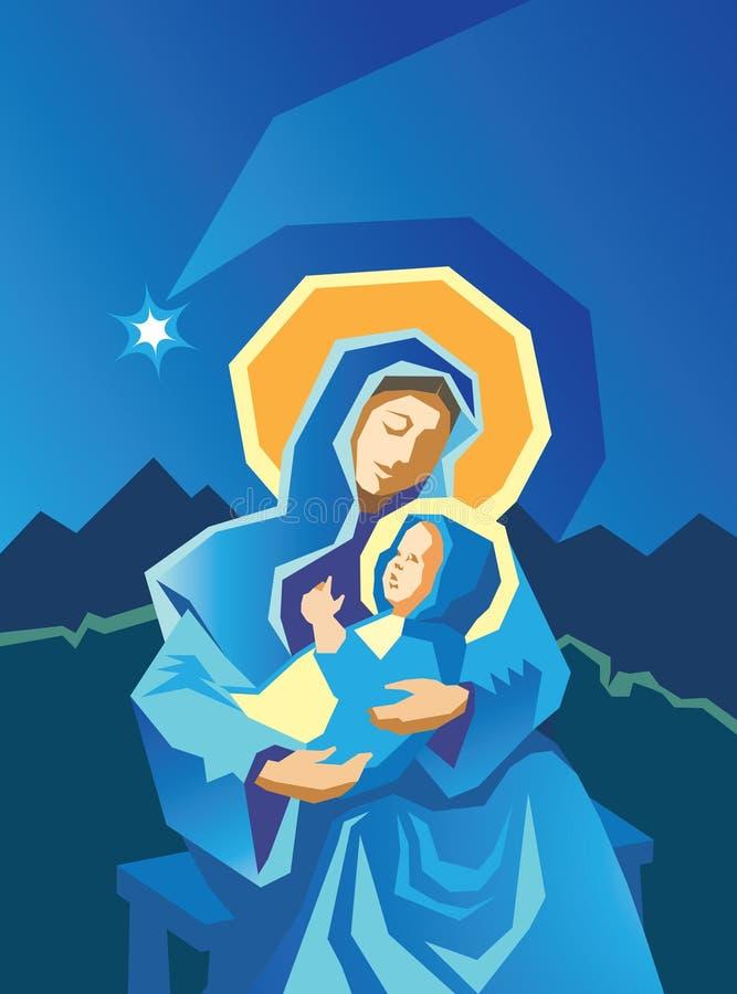 Natividade Mary e Woodcut de Jesus do bebê ilustração royalty free
