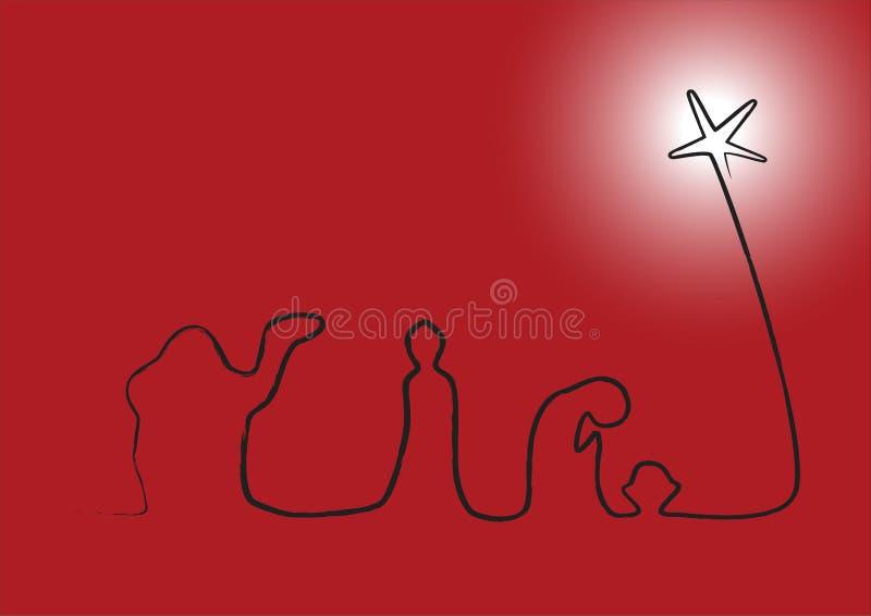 Natividade no vermelho com estrela de incandescência ilustração stock