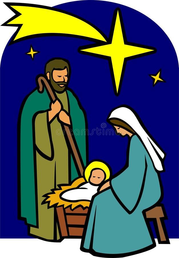 Natividade santamente da família/eps ilustração stock