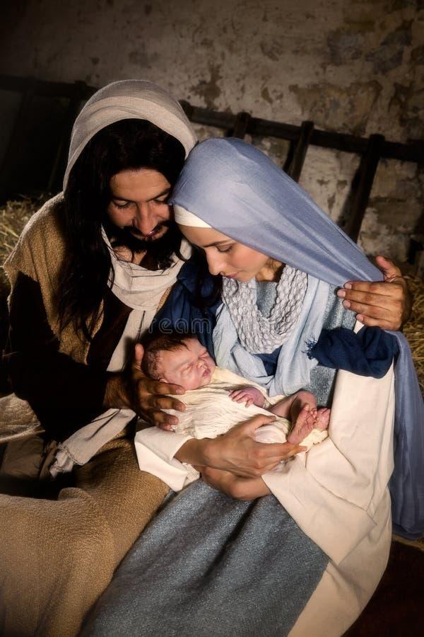 Natività di Natale in un granaio immagine stock libera da diritti