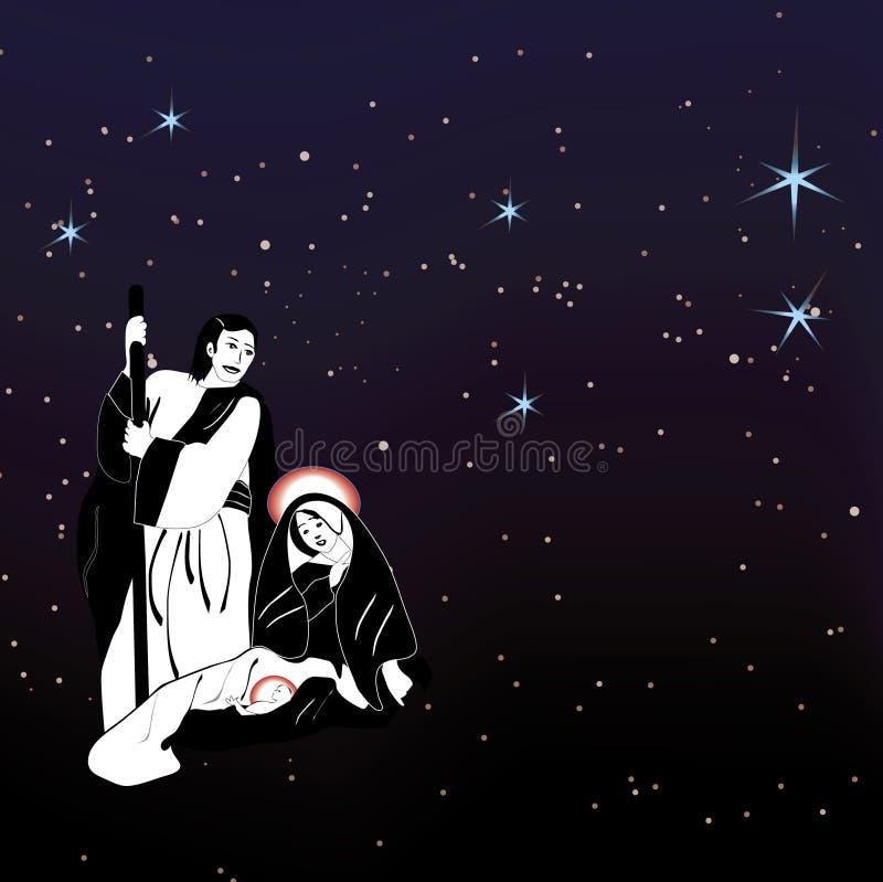 Nativité de famille et vecteur saints d'étoiles illustration libre de droits