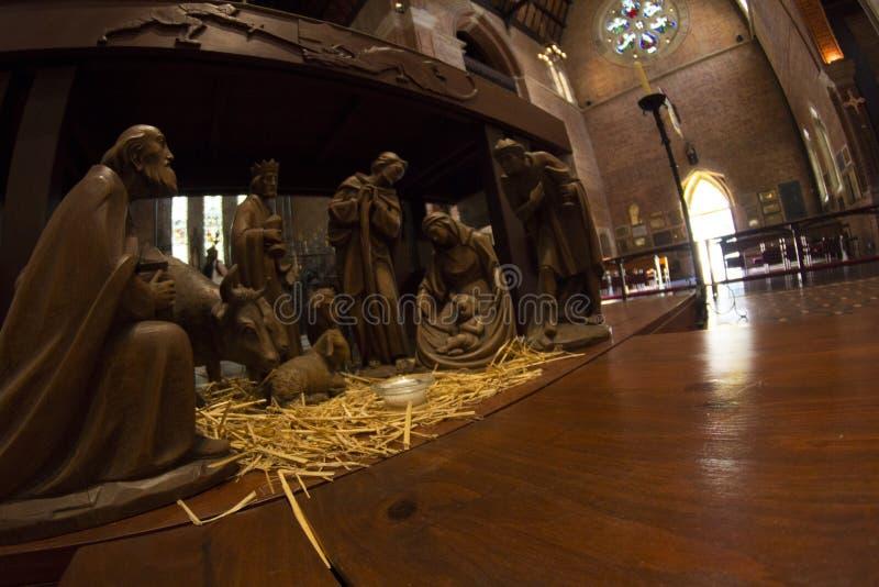 Nativité de scène de nativité de Jésus, naissance de Jésus faite en Australie en bois de Perth gentille images stock