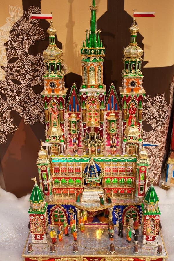 Nativités fabriquées à la main traditionnelles de Noël, Cracovie, Pologne photos stock