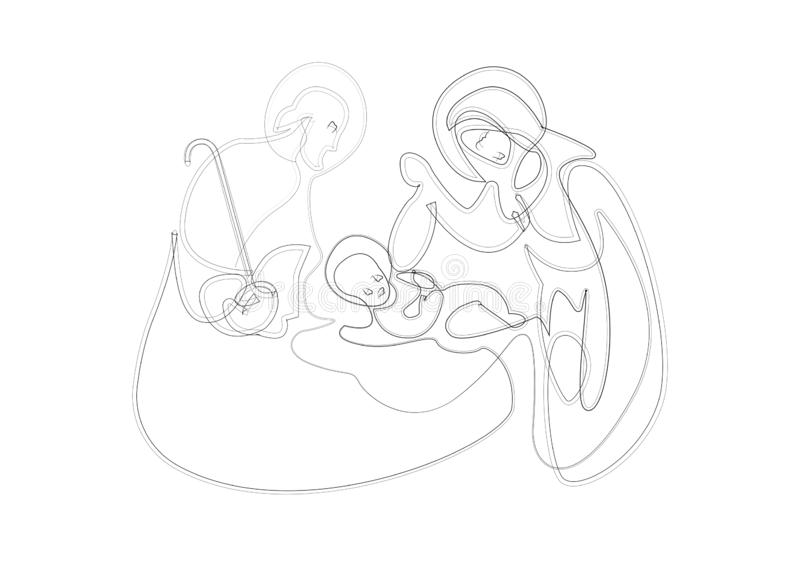 Christmas nativity scene of Joseph and Mary holding baby Jesus, hand drawn sketch, one line drawing. Vector isolated on white vector illustration