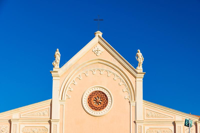 Nativita Beata Vergine Maria Nativity Blessed oskuld Mary Church i Portoferraio, Italien arkivbilder