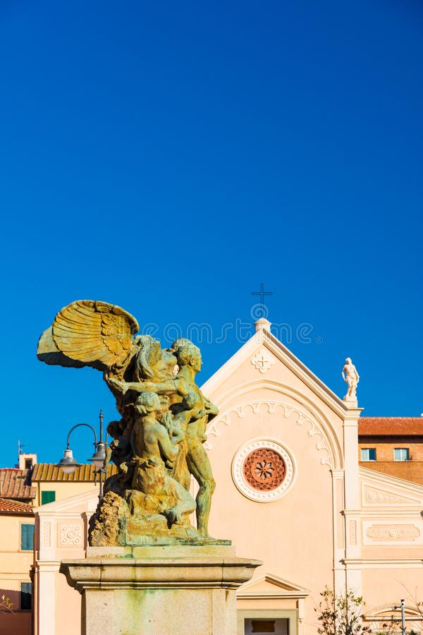 Nativita Beata Vergine Maria Nativity Blessed oskuld Mary Church i Portoferraio, Italien arkivfoton