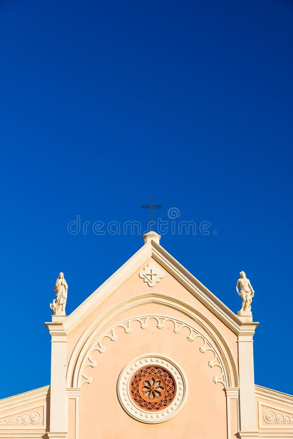 Nativita Beata Vergine Maria Nativity Blessed oskuld Mary Church i Portoferraio, Italien royaltyfri bild