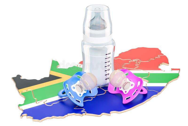 Nativitet och föräldraskap i det Sydafrika begreppet, tolkning 3D royaltyfri illustrationer