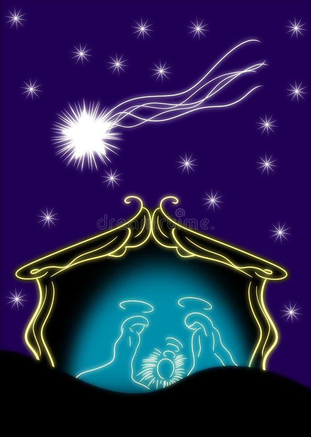 Nativity of Jesus Christ in a stylized version stock illustration